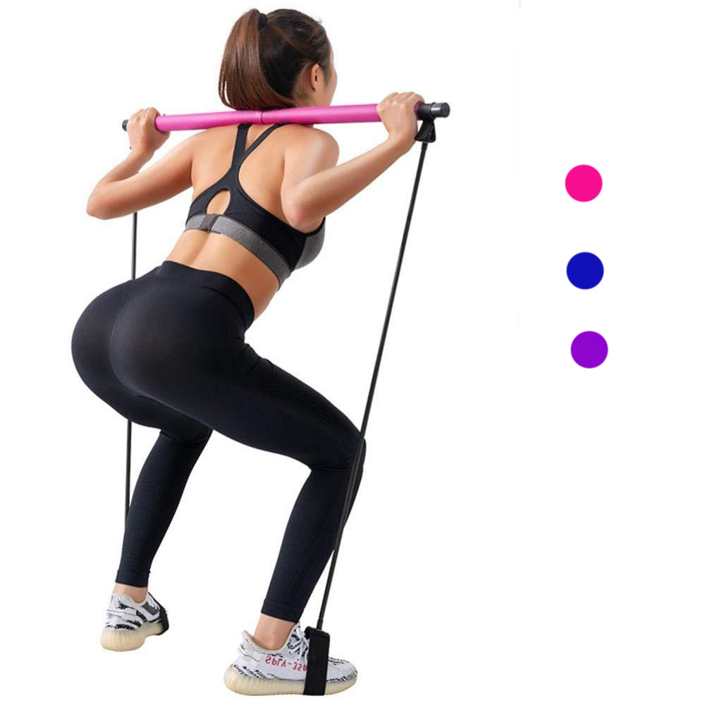 Yoga Pull Rods Gym Bar Pilates Resistance Band Body Abdominal Resistance Bands for Pilates Exercise Stick Fitness Rope Puller image
