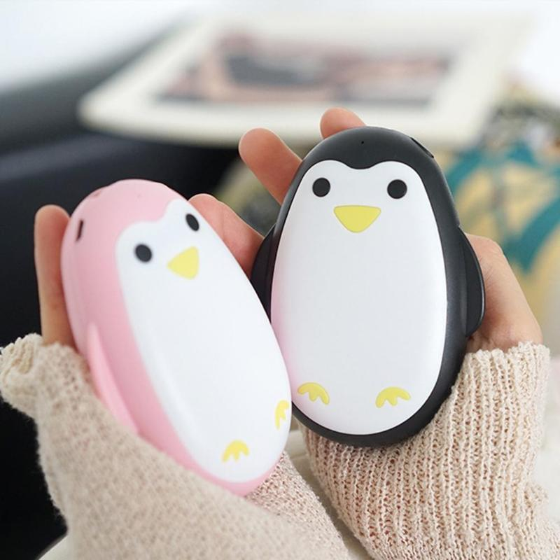 Penguin Handy Pocket Warmer USB Chargeable 5200mAh Mobile Power Portable Winter Heater Travel Warming Charger Accessories