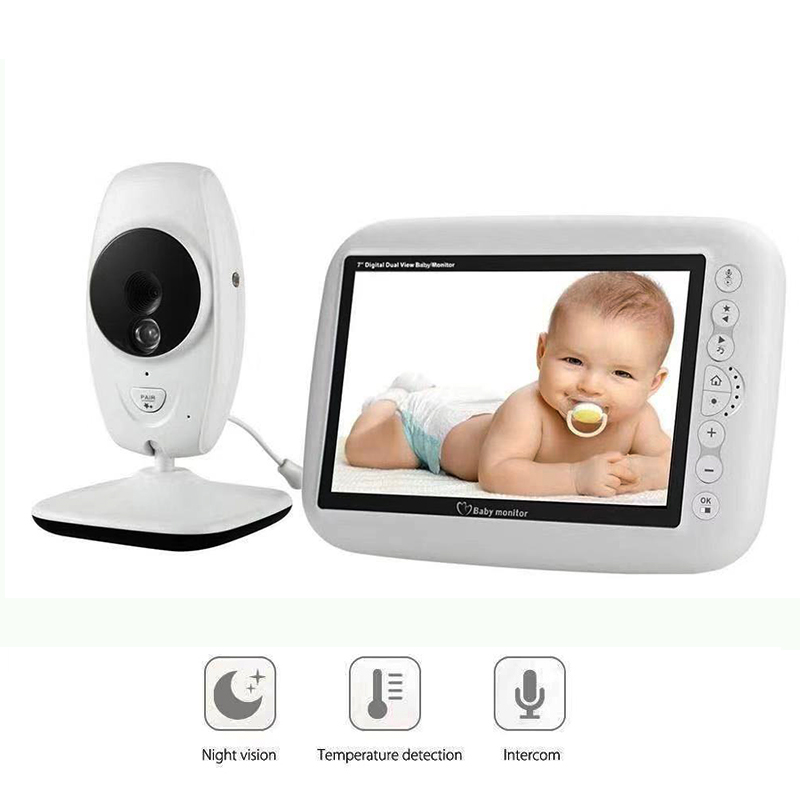 Wireless Video Color Baby Monitor 7Inch LCD 2 Way Audio Talk Night Vision Surveillance Security Camera Babysitter Night Light image