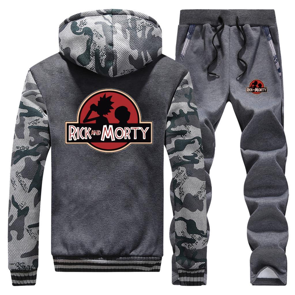 Rick And Morty Mens Hoodie+Sports Pants 2019 Hot Selling Brand Clothing Set Men Streetwear Biker Coat Zip Hipster Sweatpants 5XL