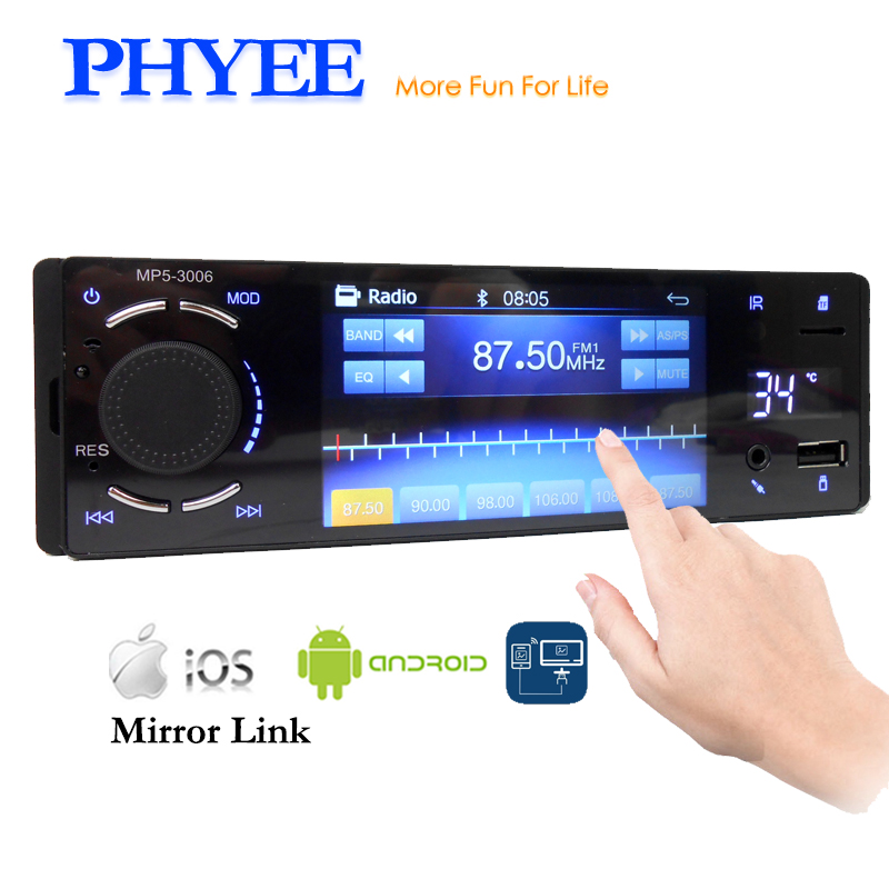 PHYEE 1 Din Автомагнитола зеркалом Link Bluetooth Handsfree 4