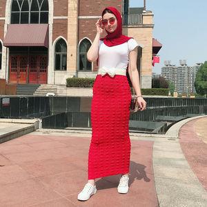 Image 2 - نساء مسلمات طويل Bodycon تنّورة مجسّمة إسلامي تمتد موضة ربيع فستان سهرة حفلة حياكة كاجول سيدات ماكسي تنورة