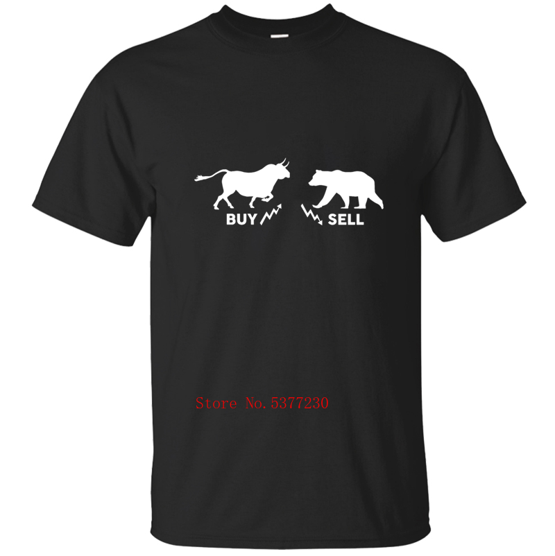 Top Quality Bull Bear Market Buy Sell Stock Gift Day Trading T-Shirt For Men Mens T Shirt Tee Shirt Solid Color Cool Hip Hop image