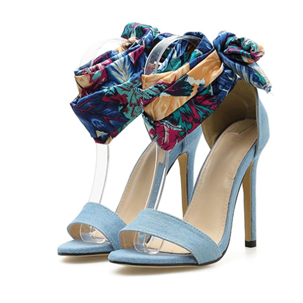 Dames bateau chaussures en plein air Sport chaussures femmes été décontracté Colorblock croix soie sangle sandales talons hauts chaussures Sandale #525 - 2