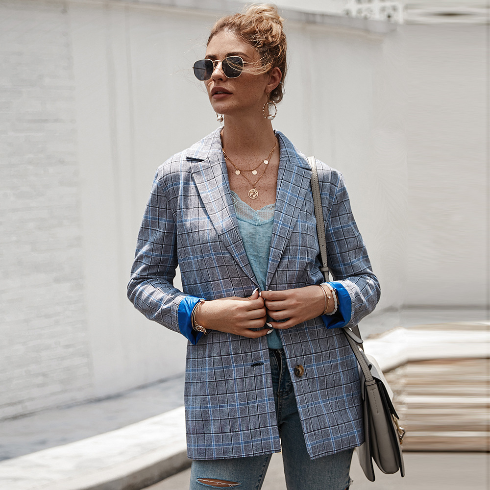 Women Vintage Single Breasted Plaid Blazer Coat Fashion Autumn Winter Slim Work Office Women Coat