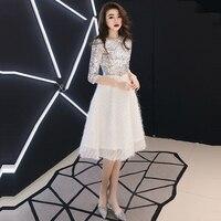 Sequin Prom Dresses Sparkling O Neck Women Party Sliver White Half Sleeve Vestidos De Fiesta