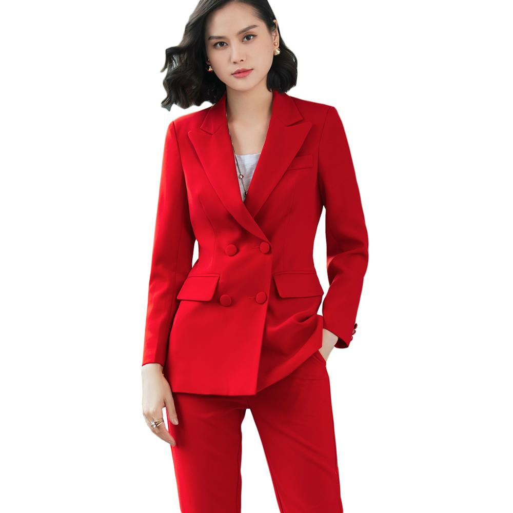 Female Elegant Formal Office Work Wear OL Women Lady Pant Suits Blazer Suit Jackets With Ankle Length Trouser Red 2 Pieces Sets