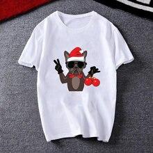 Женская футболка с рисунком «merry christmas» белая мопса женская