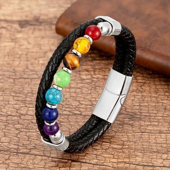 Bracelet chakra homme cuir
