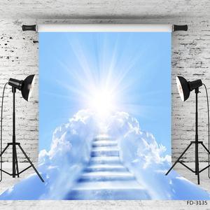Image 2 - Słońce błękitne niebo biała chmura drabina fotografia tło Vinyl zdjęcie tła Studio dla dzieci portret dziecka sesja zdjęciowa