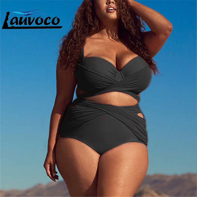 Solid Black High Waist Bikini Set Bandage Swimsuit Women Plus Size Swimwear Biquini Female High Cut Large Cup 4XL Bathing Suit