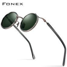 Fonex Мужские солнцезащитные очки из ацетата и титана винтажные
