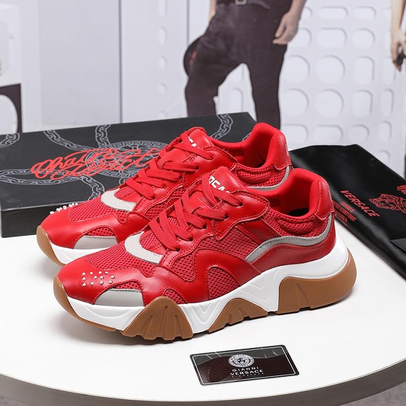 2019Fashion Platform Sneakers Flying Woven Shoes Men Mesh Breathable Casual Men's Shoes Tenis Masculino Zapatillas Hombre G10-82