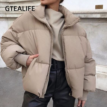 Gtealife Fashion Stand Collar Parkas Women Thick Warm Winter Bubble Coats Female Khaki Jackets Pockets Zipper Simple Overcoats mishow 2020 winter parkas for women long sleeve fashion warm coats streetwear outdoor overcoats slim female jackets mx20d9113