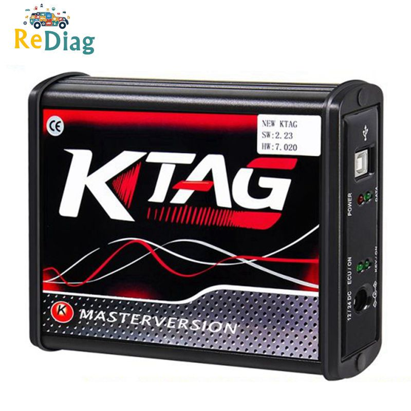 EU Version Red PCB New 4LED KTAG 7.020 Firmware Latest V2.25 No Token Limited Multi-Language K TAG 7.020 Online Version