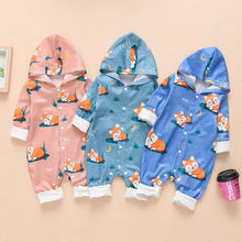 Newborn Clothes  Infant Baby Boy Girls Clothes Kids Cute Cartoon Fox Hooded Romper Jumpsuit Cotton Clothes стоимость