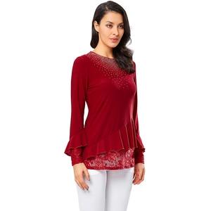 Image 2 - YTL elegante blusa de mujer otoño rojo cuello redondo decoración de diamante manga de llamarada camisa Casual para la boda de talla grande 7XL 8XL H270