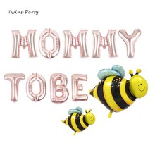 Twins Party Mommy to Be Bumble Bee Balloon Shower Decor Blue Pink its a Girl or Boy Backdrop Props
