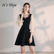 Короткое коктейльное платье it's yiiya черное ТРАПЕЦИЕВИДНОЕ