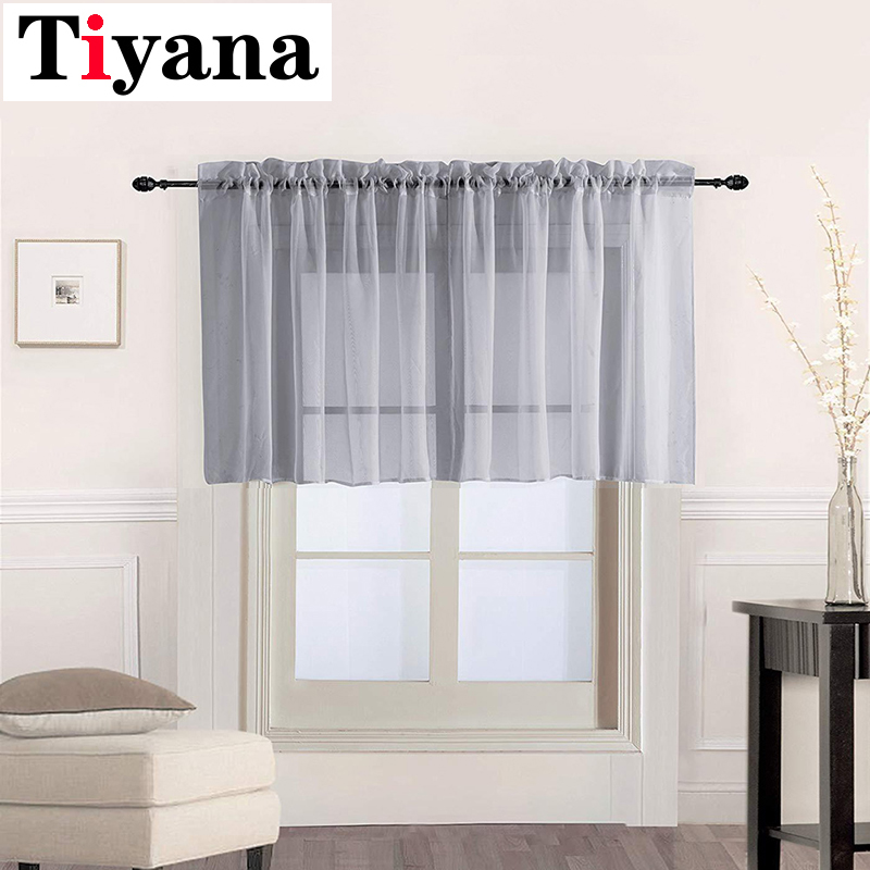 Grey Short Sheer Curtains Tulle Short Tulle Curtains Window Drapes Valance For Bedroom Bathroom Living Room Kitchen Cafe P184Y