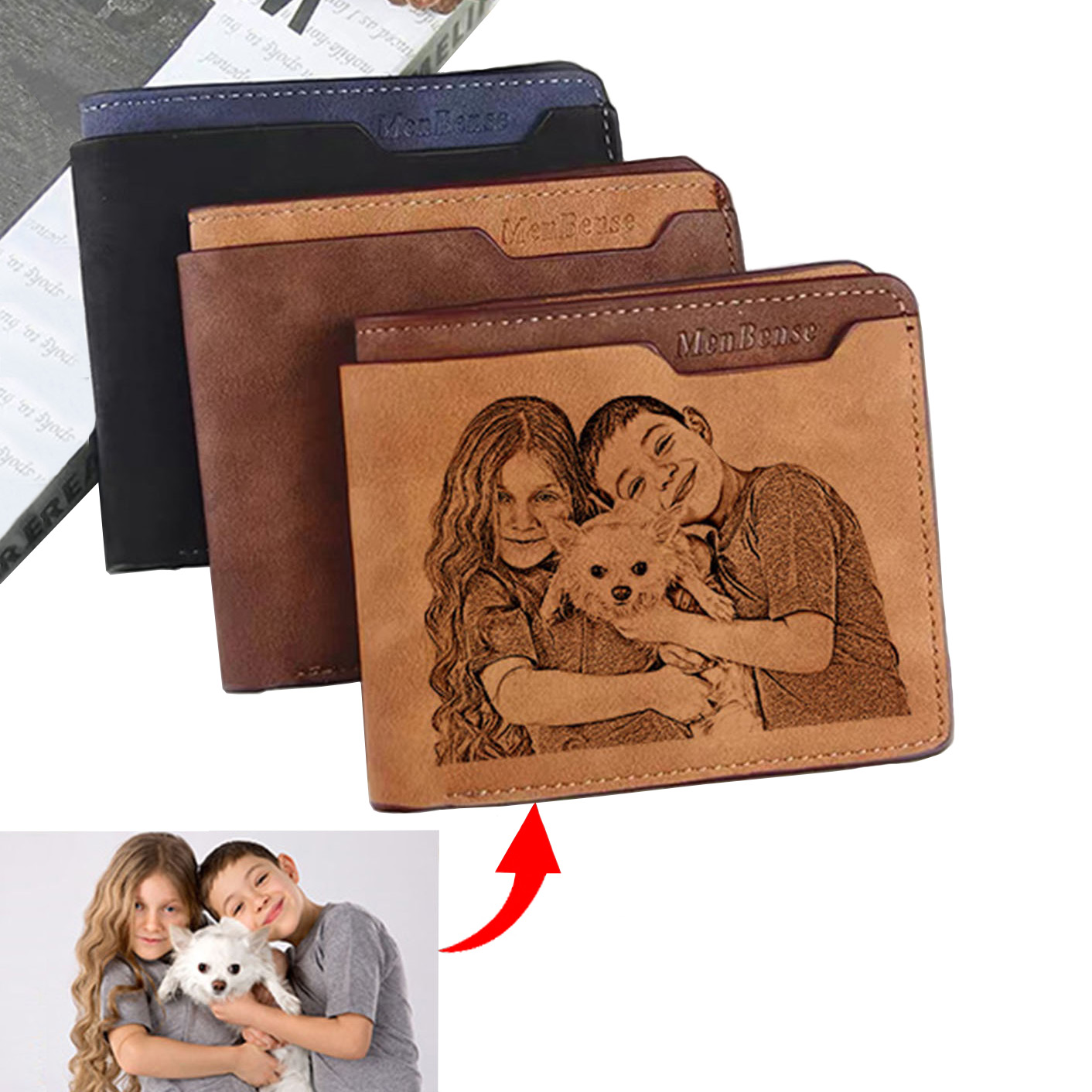 Engraving Wallet Men's Double Frosted Waterproof Short Multifunctional  Fashion Casual Wallet Customize Picture Purse Gift