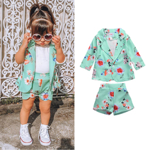 Jacket Girls Outfit-Set Outwear Suit Two-Piece-Suit Kids Casual Shorts Coat-Button Long-Sleeve
