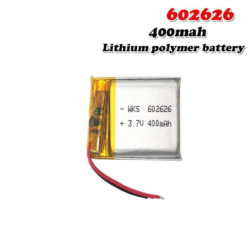 400mAh 3.7V 602626 polymère lithium li ion batterie Rechargeable pour lumière LED tachygraphe voiture DVR Bluetooth écouteur MP3 MP4