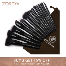 Zoreyaブランド15pcsの黒のメイクブラシセットアイシャドウパウダーファンデーションのため最高ブレンドコンシーラー化粧品ツール