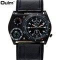 OULM Mode Vintage Quarzuhr Männer Korn Lederband Oversize Design Freund Chic Sport Handgelenk Uhren Relogio Masculino Quarz-Uhren Uhren -