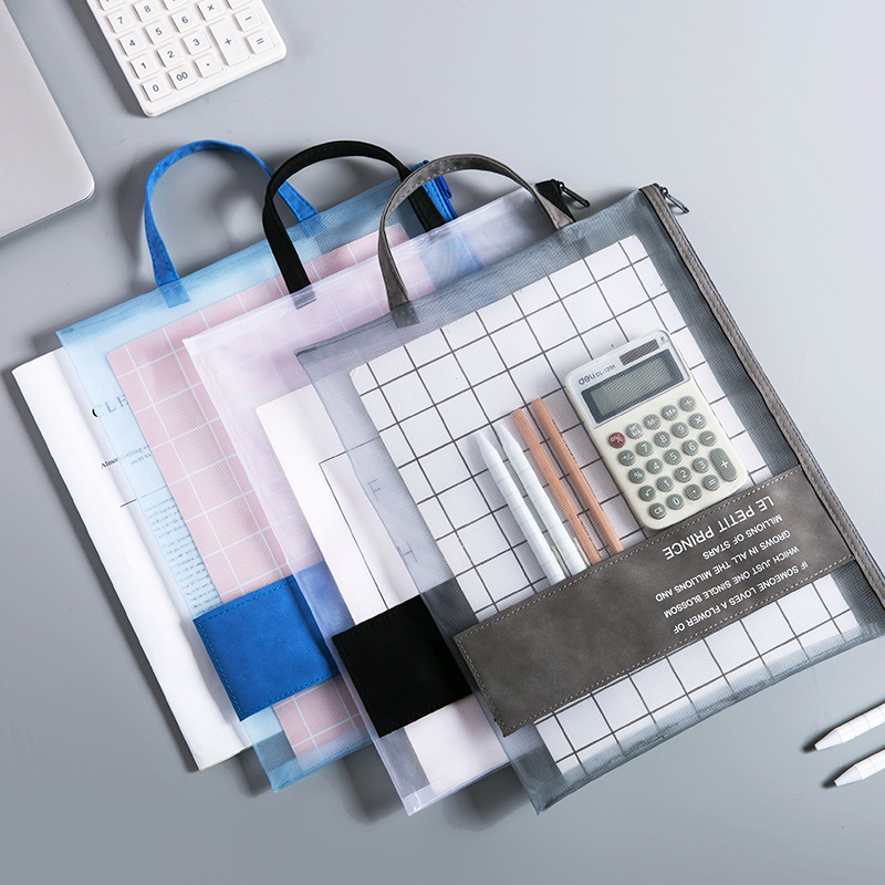 Mesh Transparent Zipper Stationery Bag Office File Pen Bag Document Organizer Test Paper Storage Bag
