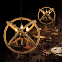 Farmhouse Decor kitchen lighting Round Globe lustre pendente Loft Industrial Vintage hemp rope pendant light