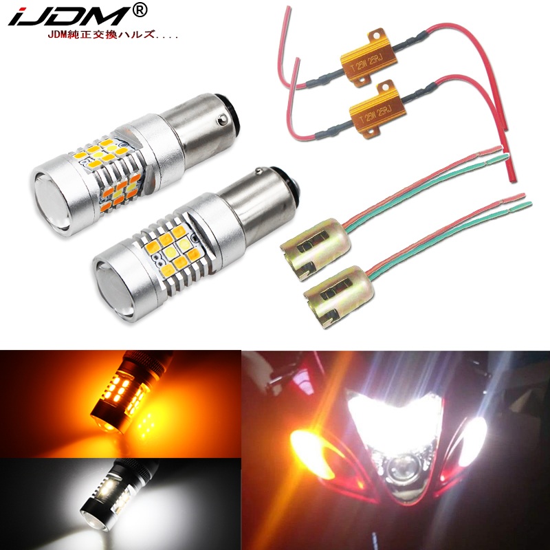 IJDM Complete White/Amber Switchback LED Lighting Conversion Kit Compatible For Suzuki Hayabusa GSX1300R Front Turn Signal Lamps