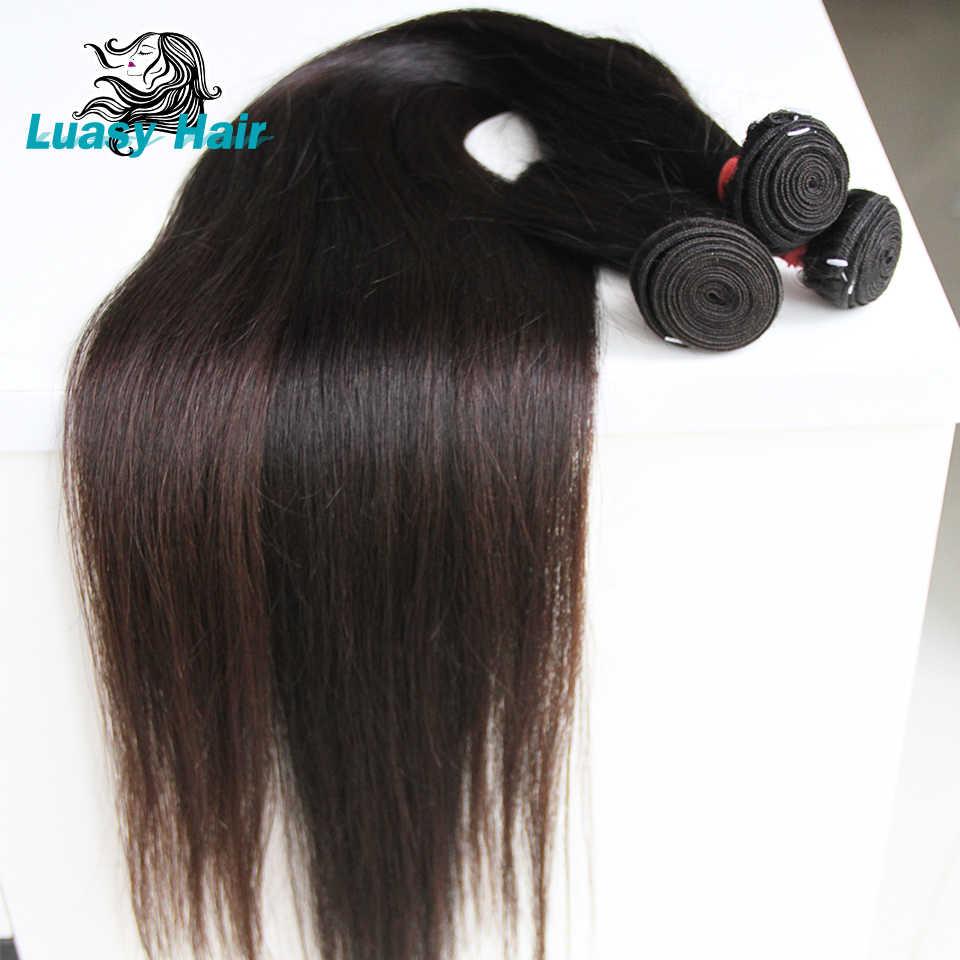 Luasy brezilyalı saç örgü demetleri düz % 100% Remy saç uzatma doğal renk 30 32 34 36 38 40 uzun saç postişi demetleri