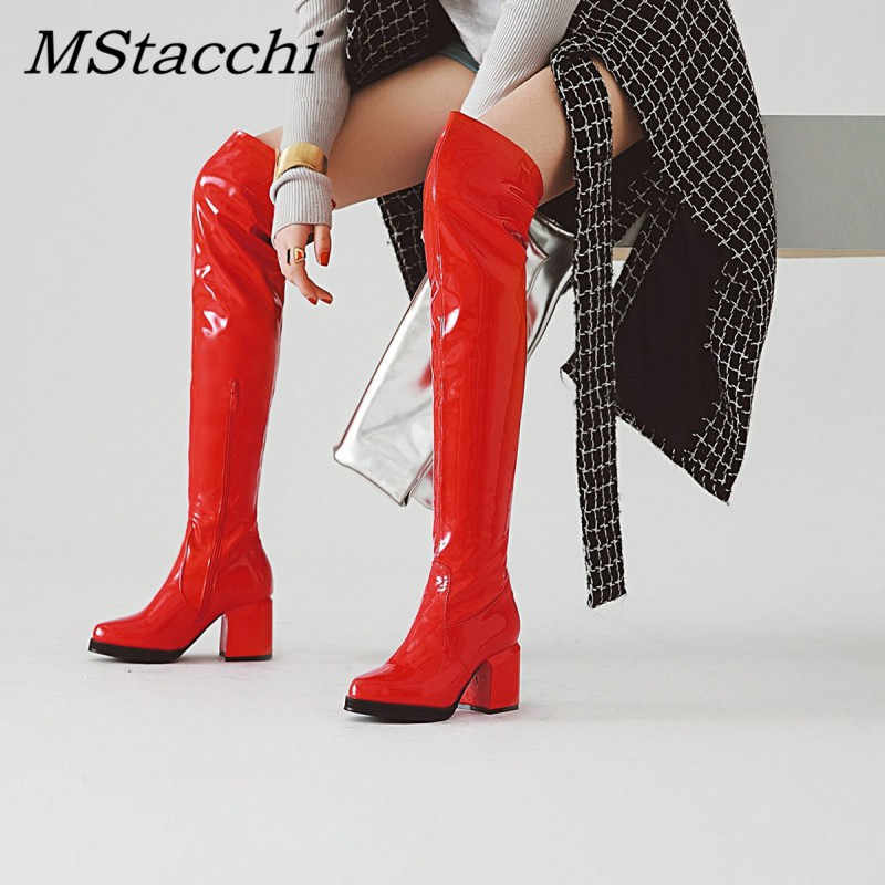 MStacchi Classic Thick Heels Round Toe Long Boots Women Silver Patent Leather Knee High Botas Mujer Winter Warm Party Shoe Woman