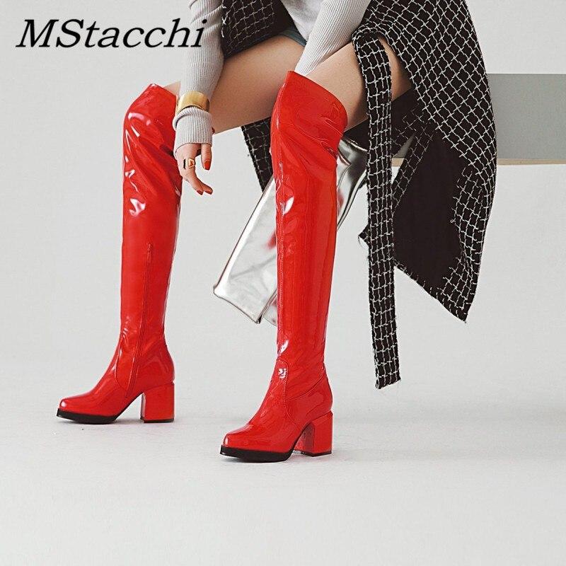 MStacchi-Botas clásicas de tacón grueso y punta redonda para Mujer, Botas Largas de charol plateado hasta la rodilla, zapatos de fiesta cálidos para invierno