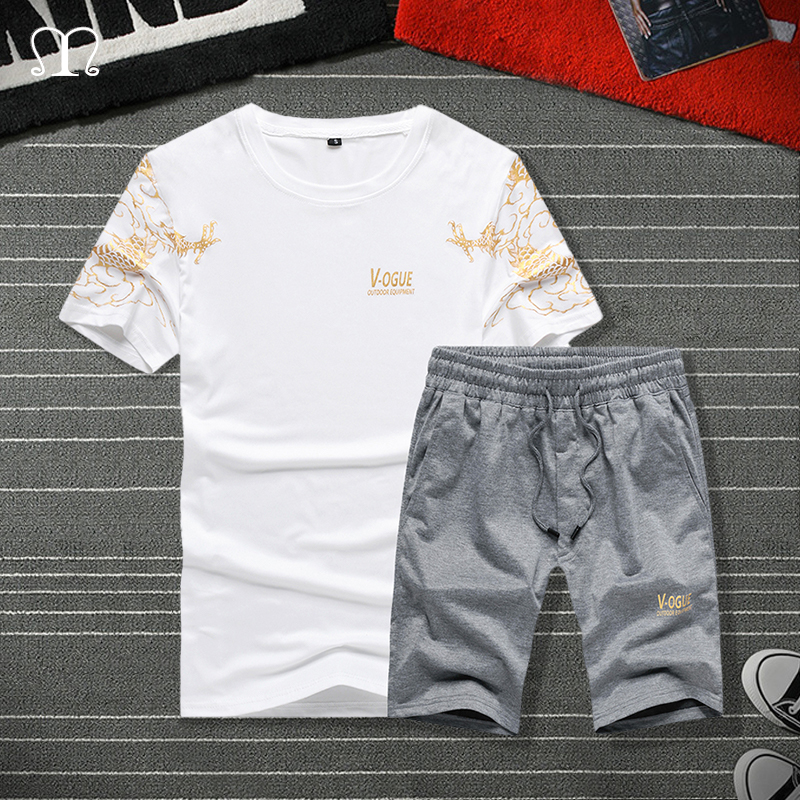 Summer Shorts Set Mens Tracksuit Printed Streetwear T Shirts Sweatpants Men Sportswear Set Young Male Casual 2 Pieces Track Suit