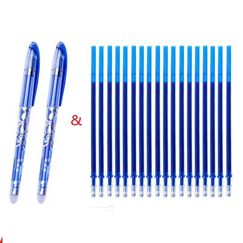 12pcs/Set 0.38mm Erasable Pen Washable Handle Blue Black Red Erasable Gel Pen Refill Rod School Office Writing Stationery