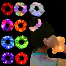 2020 New Fashion Girls LED Luminous Scrunchies Hairband Ponytail Holder Headwear Elastic Hair Bands Solid Color Hair Accessories