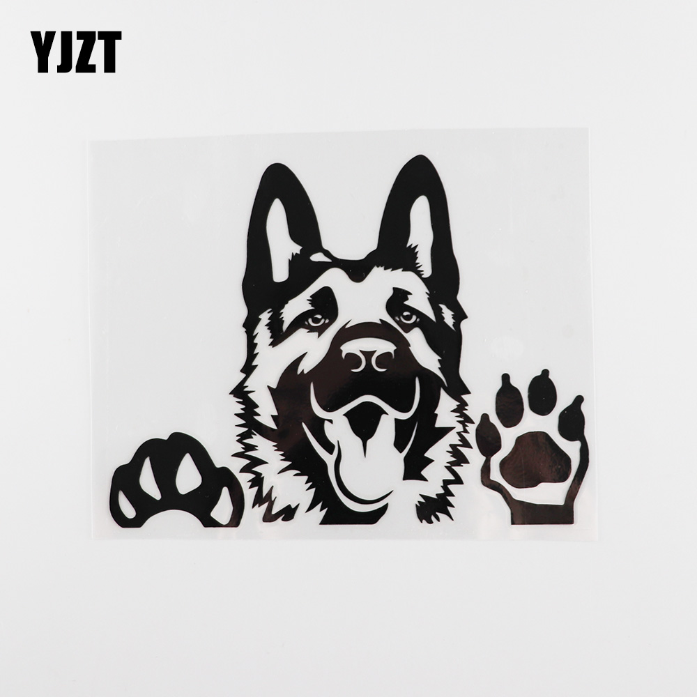YJZT 15.6X12.3CM Art Decal German Shepherd Dog Vinyl Car Sticker Black/Silver 8A-0003
