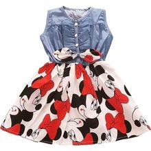 Girls Dress Long-sleeve Cotton Denim Flower Children Clothing Stitching Pattern Girl Dress 3-7Y(China)