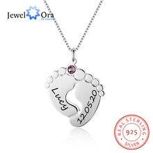 Jewelora personalizado bebê pés colar com birthstone 925 prata esterlina nome personalizado pingente colar presente para a mãe