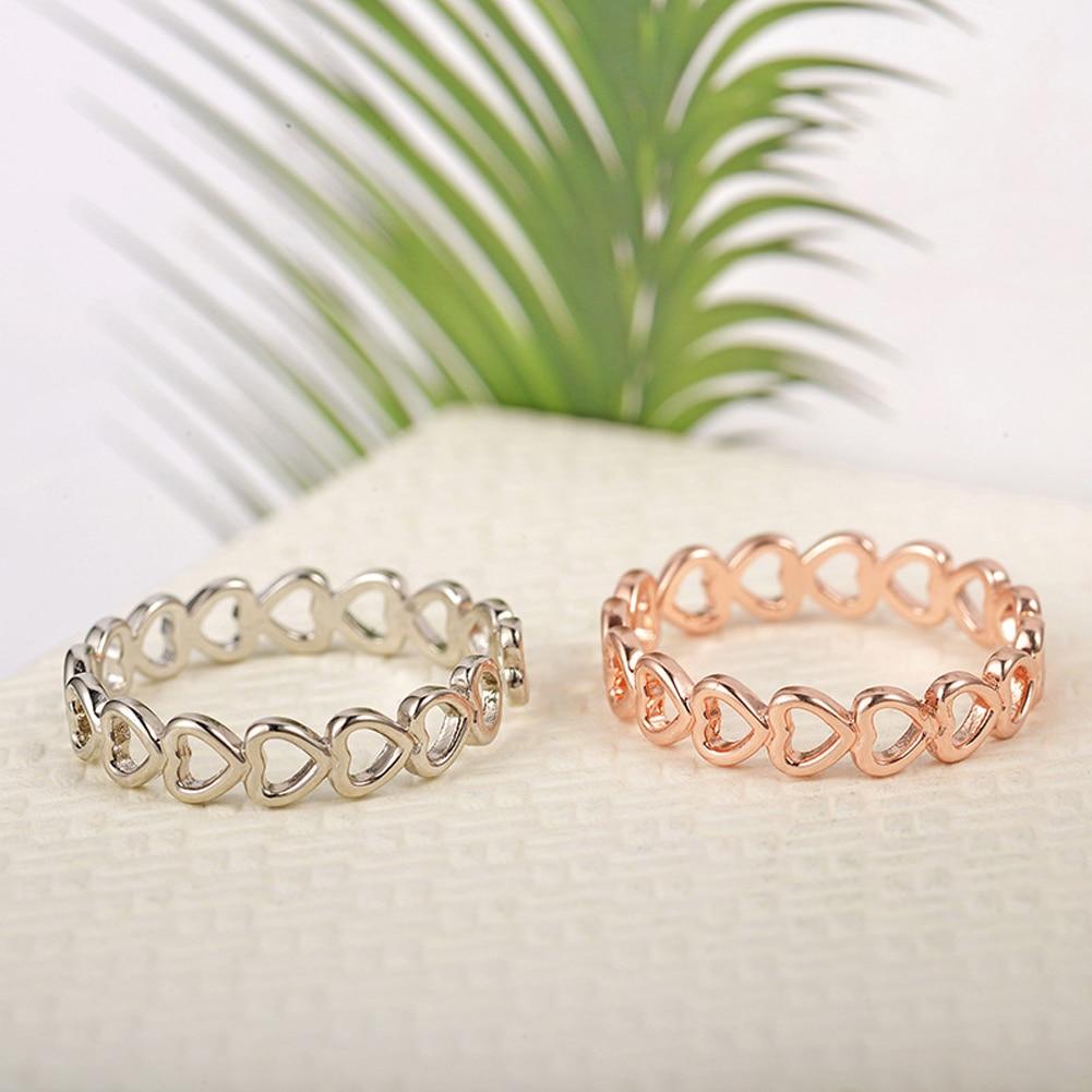 Открытое кольцо в форме сердца с отверстиями серебряного цвета, дизайнерское милое модное ювелирное изделие с любовью для женщин, девочек, ...
