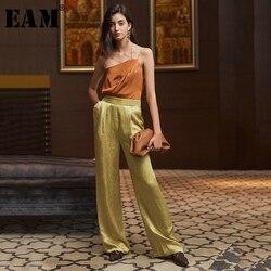 [EAM] женский свободный комбинезон контрастного цвета с широкими штанинами, новый комбинезон с карманами и высокой талией, модные брюки весна...