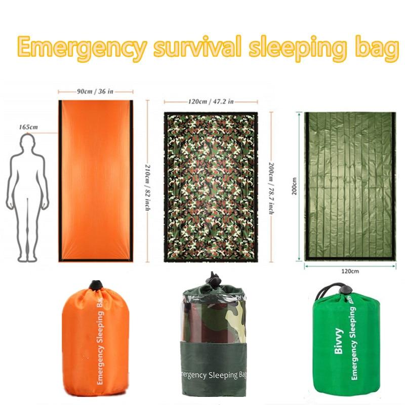 Sac de couchage thermique étanche d'urgence, couverture de survie pour camping, randonnées et activités de plein air 2
