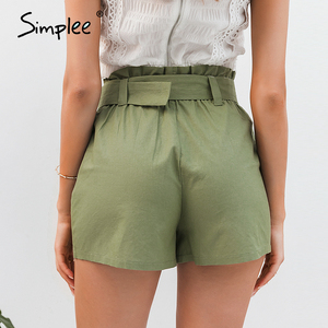 Image 3 - Simplee  Casual green women summer shorts Sash belt cotton female shorts Office work ladies buttons shorts streetwear bottoms