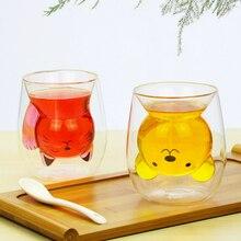 250ml cartoon animal bear coffee mug cute cat double glass juice cup coffee mugs creative cups and mugs