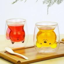 250ml dos desenhos animados animal urso caneca de café gato bonito duplo copo de suco de vidro canecas de café criativo copos e canecas