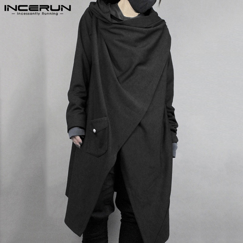 INCERUN Fashion Men Cloak Punk Style Solid Long Sleeve Irregular Cape Cotton Outwear Japanese Style Men Trench Coat Streetwear 7