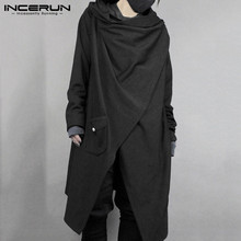 INCERUN Fashion Men Cloak Punk Style Solid Long Sleeve Irregular Cape Cotton Outwear Japanese Style