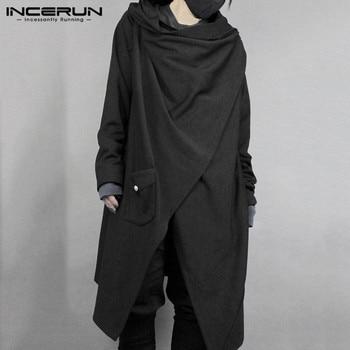 INCERUN Fashion Men Cloak Punk Style Solid Long Sleeve Irregular Cape Cotton Outwear Japanese Style Men Trench Coat Streetwear 7